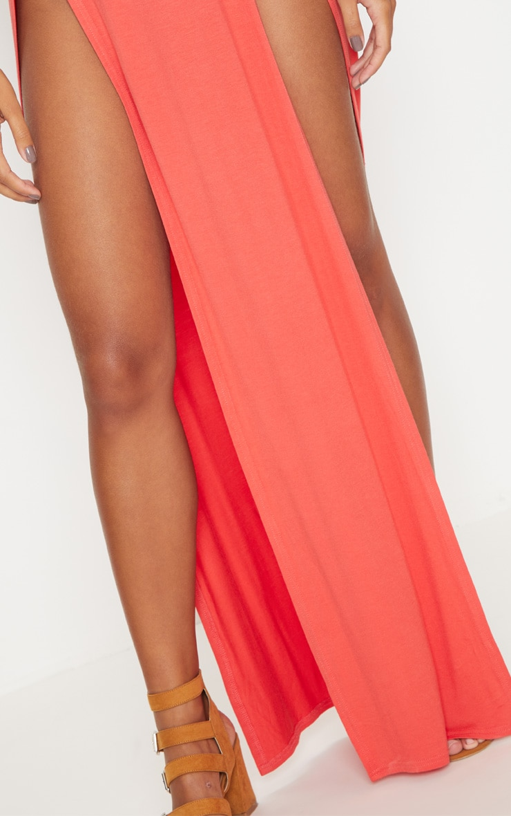 Tangerine Double Split Maxi Skirt 5