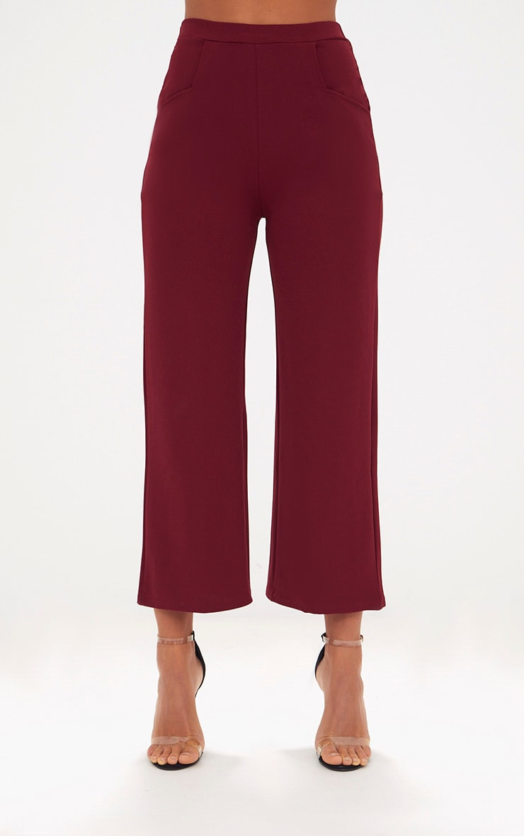 Deep Berry Cropped Wideleg Trousers 2