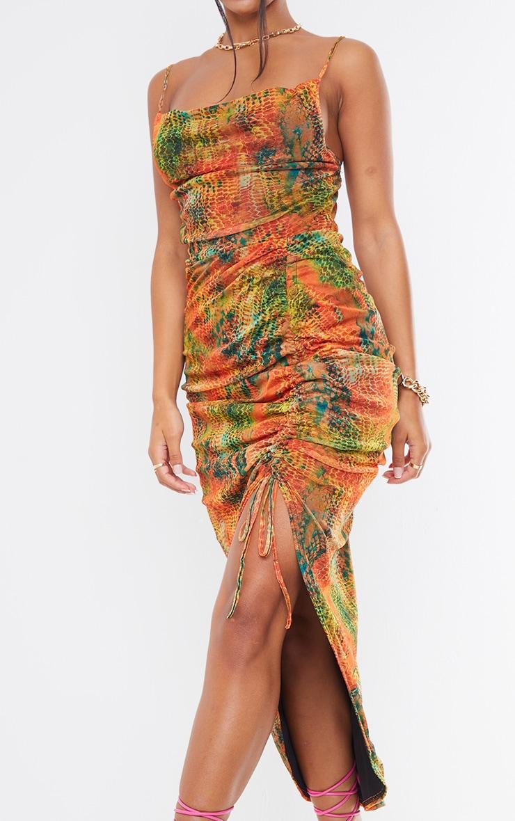 Multi Snake Print Mesh Strappy Cowl Neck Ruched Skirt Midi Dress 4