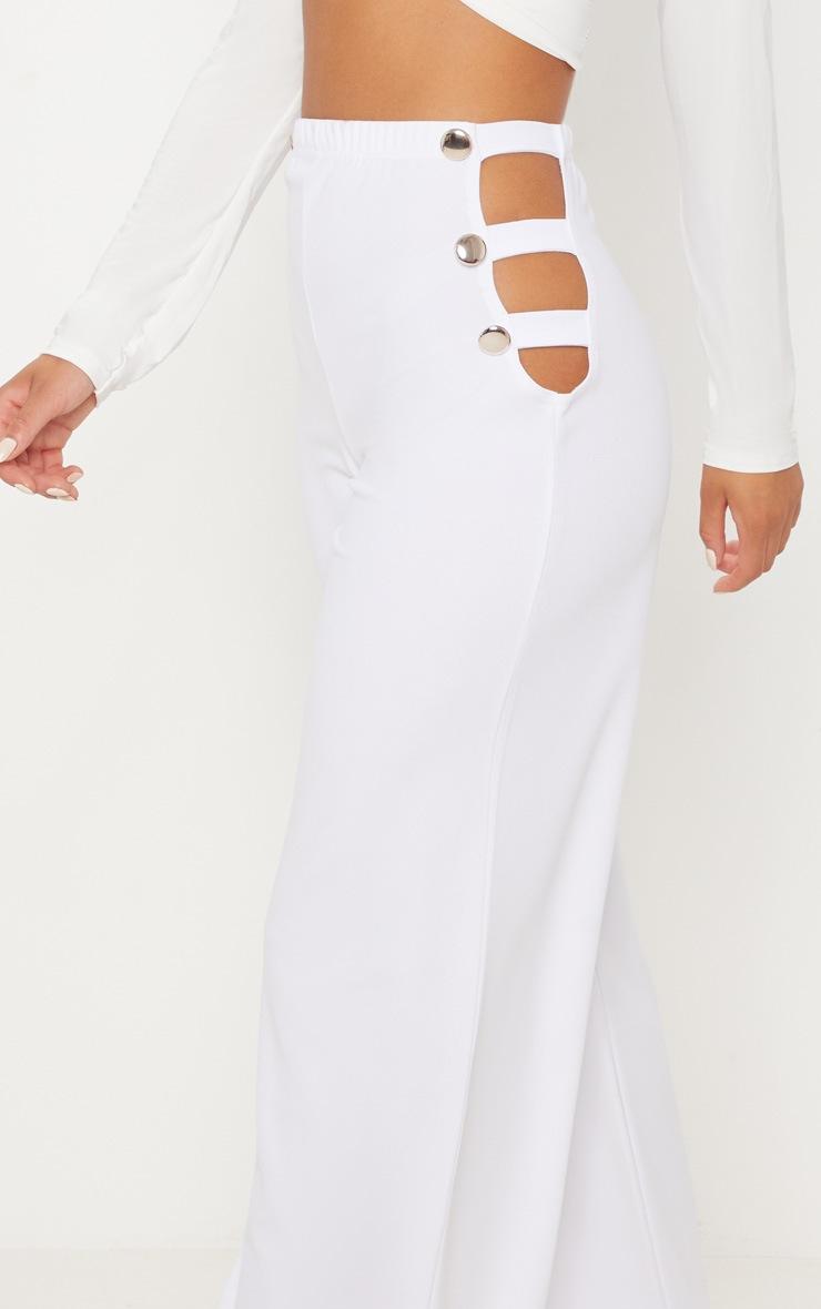 White Cut Out Side Button Wide Leg Trouser 5