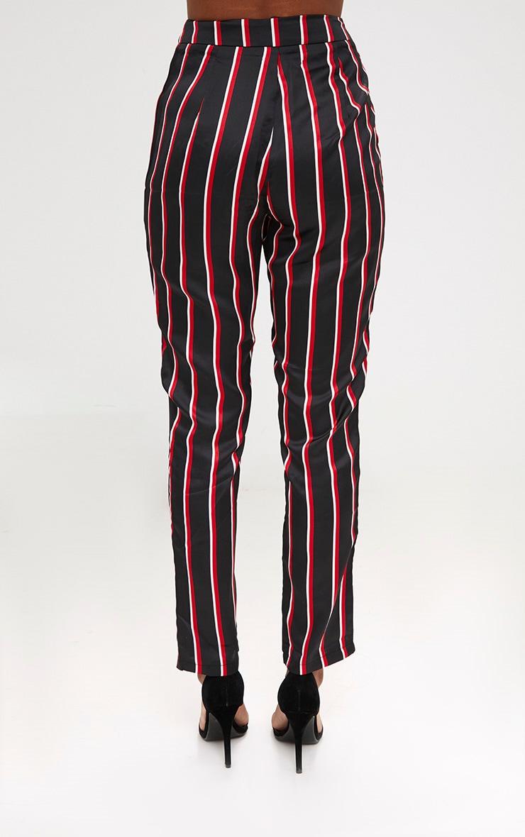 Black Satin Diagonal Stripe Peg Trouser  4