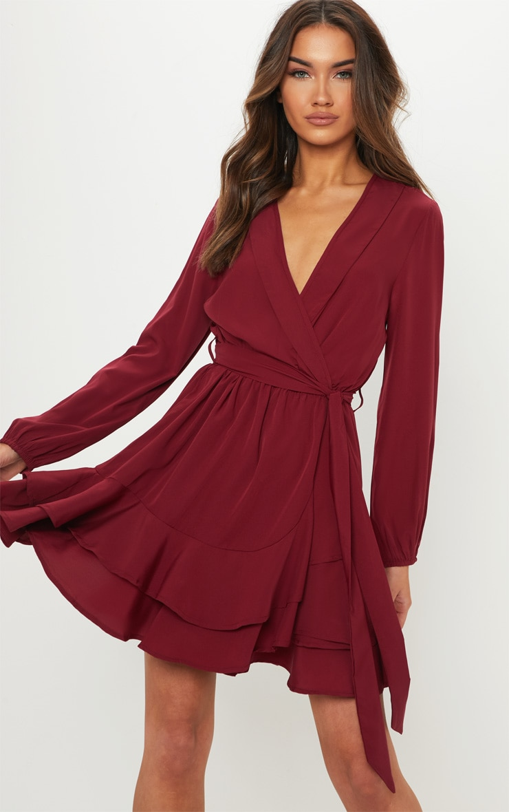 Burgundy Tie Waist Frill Hem Dress 4