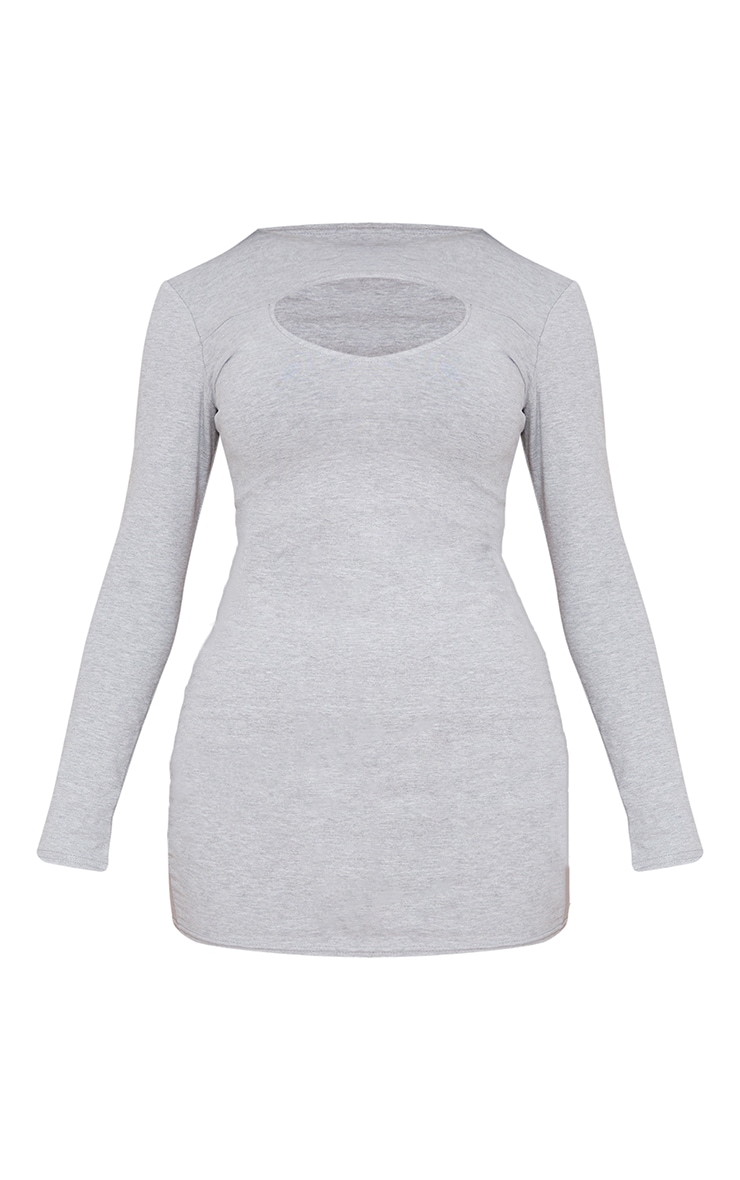 Grey Marl Bust Cut Out Detail Long Sleeve Bodycon Dress 5