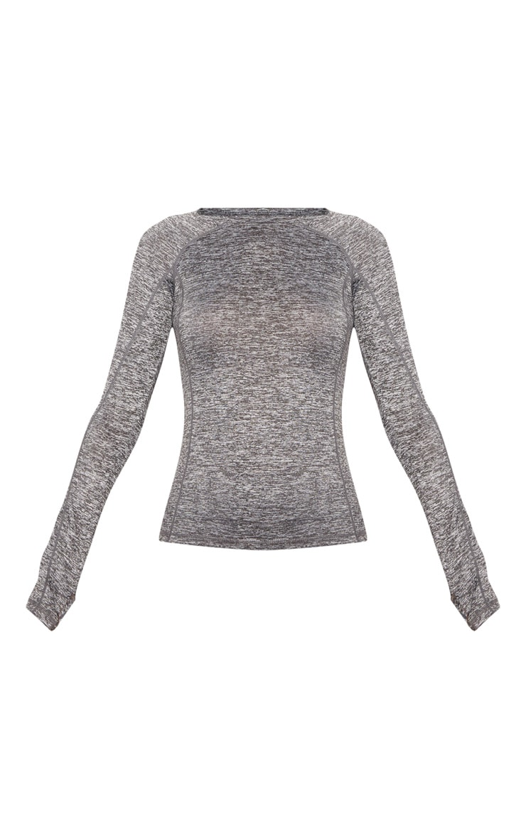 Grey Marl Long Sleeve Gym Top 3