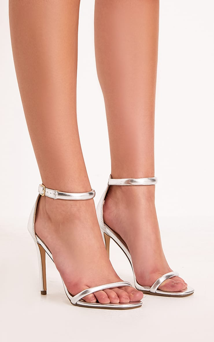 Ruby Silver Square Toe Strappy Heels 3