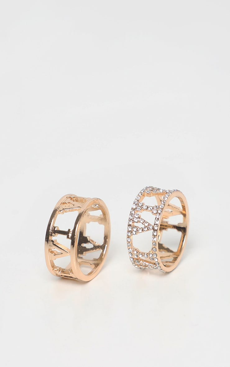Gold Roman Numeral Diamante And Plain Ring 2 Pack 3