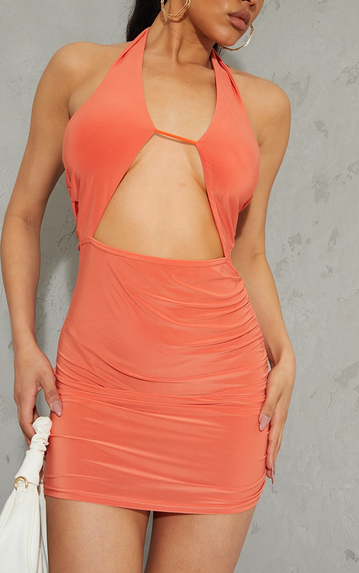 Orange Slinky Halterneck Bust Detail Bodycon Dress 4