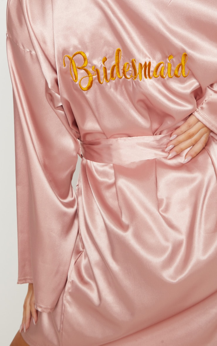 Pale Pink Bridesmaid Embroidered Back Satin Robe 6