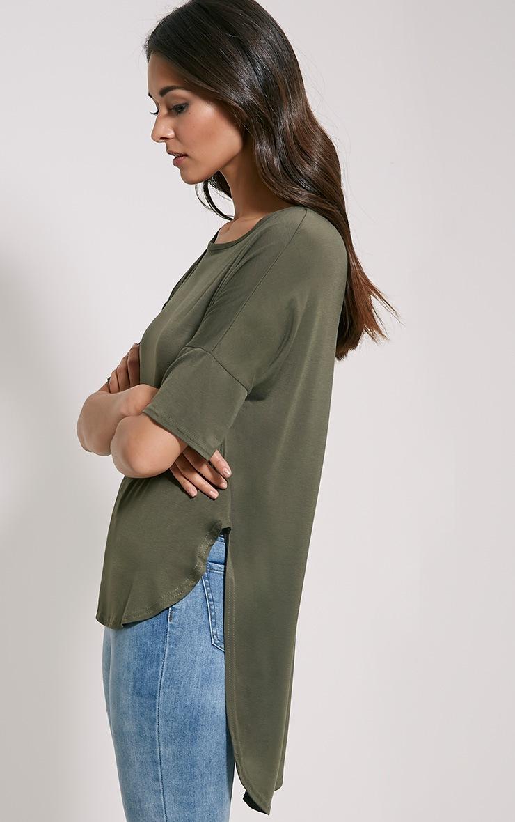 Basic Khaki Dip Hem Loose T-Shirt 4