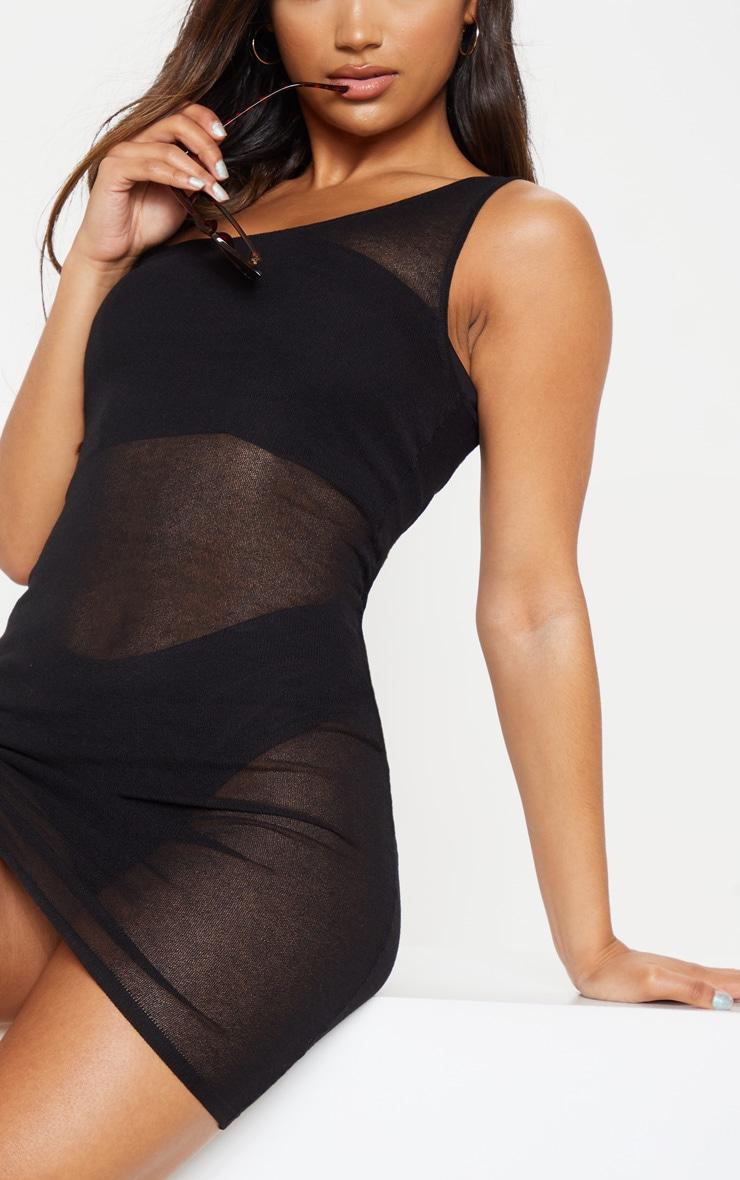 Black Knitted Light Weight Asymmetric Dress 4