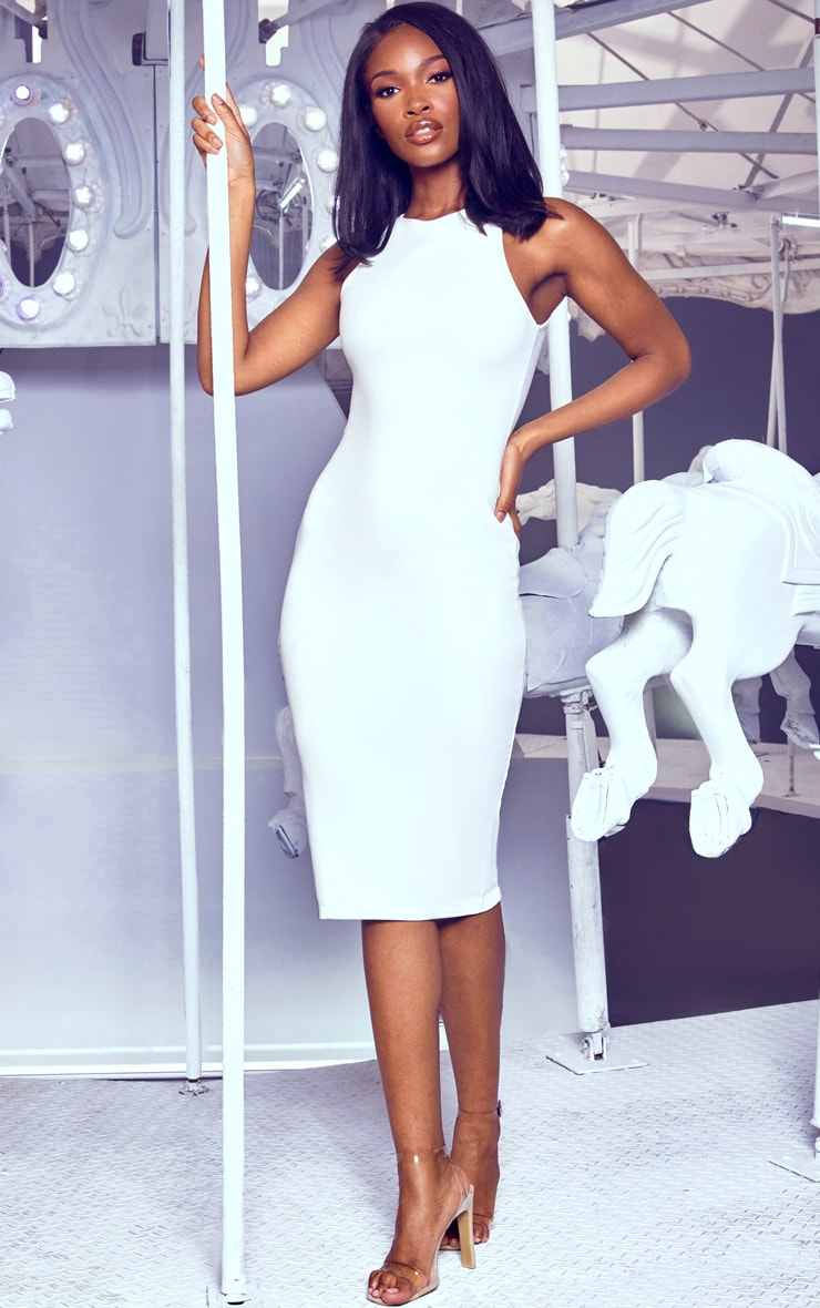 White Crew Neck Midi Dress 1