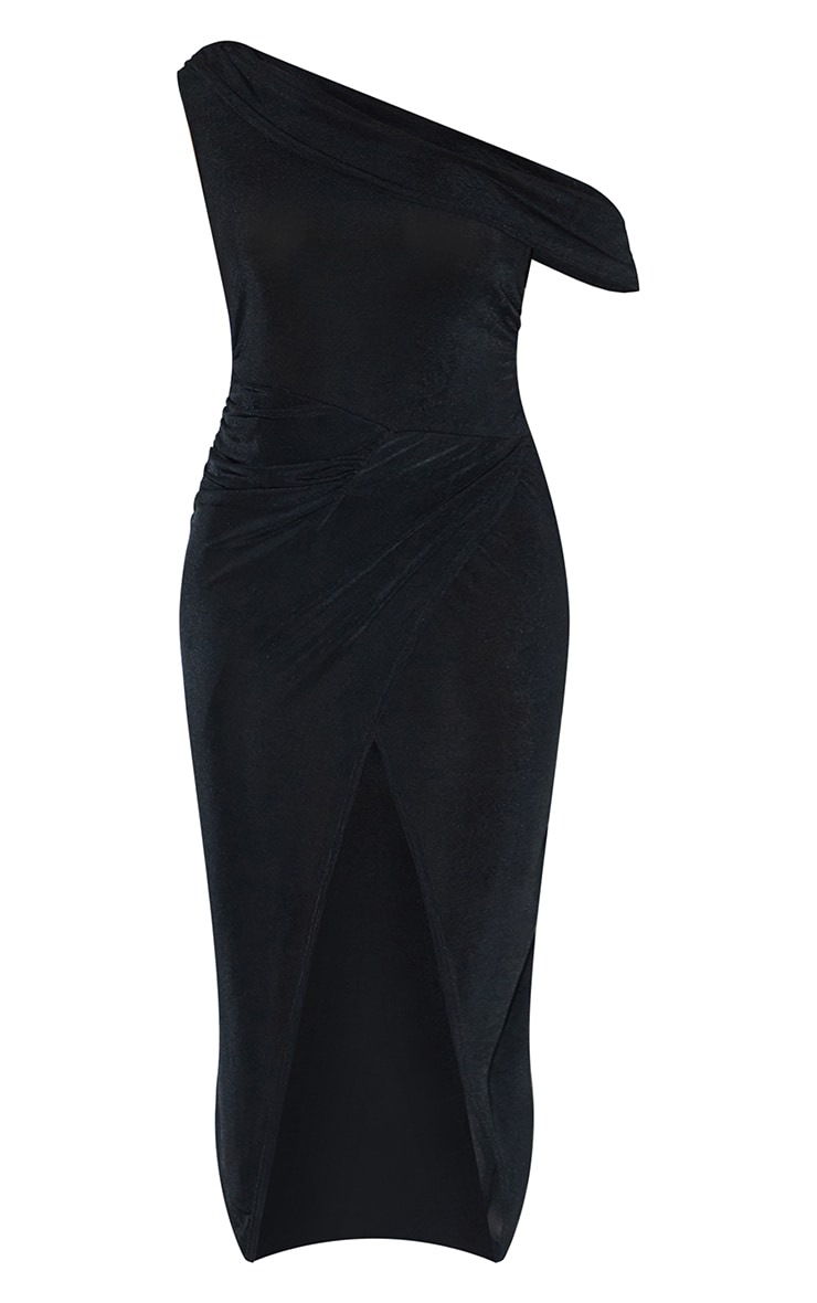 Black Recycled Textured Slinky Off Shoulder Midaxi Dress 5
