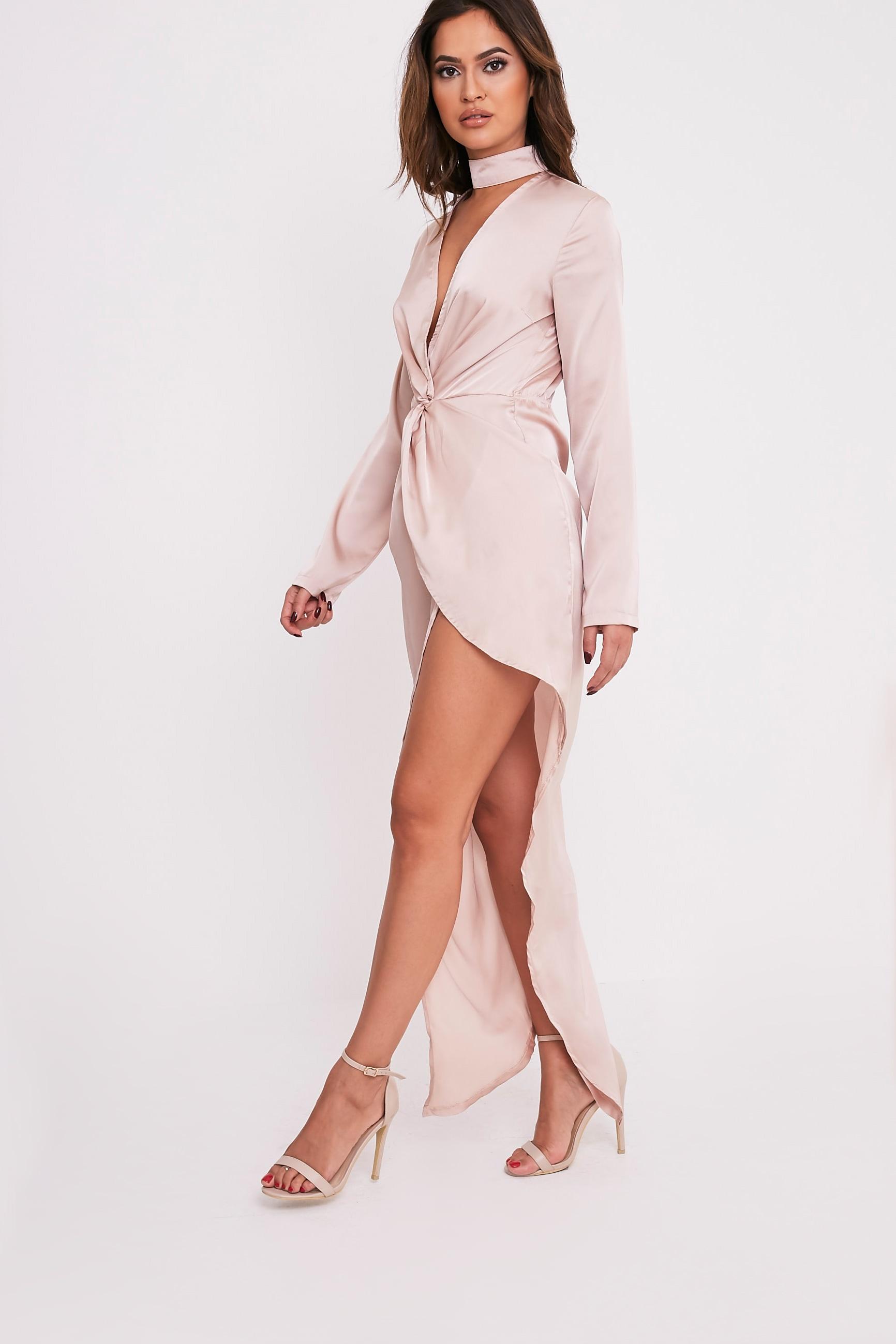 Melody Champagne Choker Detail Asymmetric Maxi Dress 5