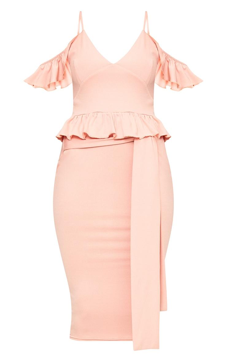 Dusty Pink Cold Shoulder Paper Bag Waist Midi Dress 3