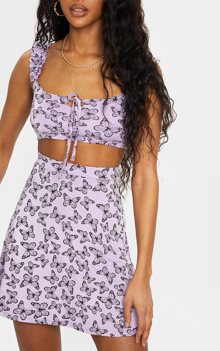 Purple Butterfly Print Floral Frill Keyhole Tie Crop Top 4