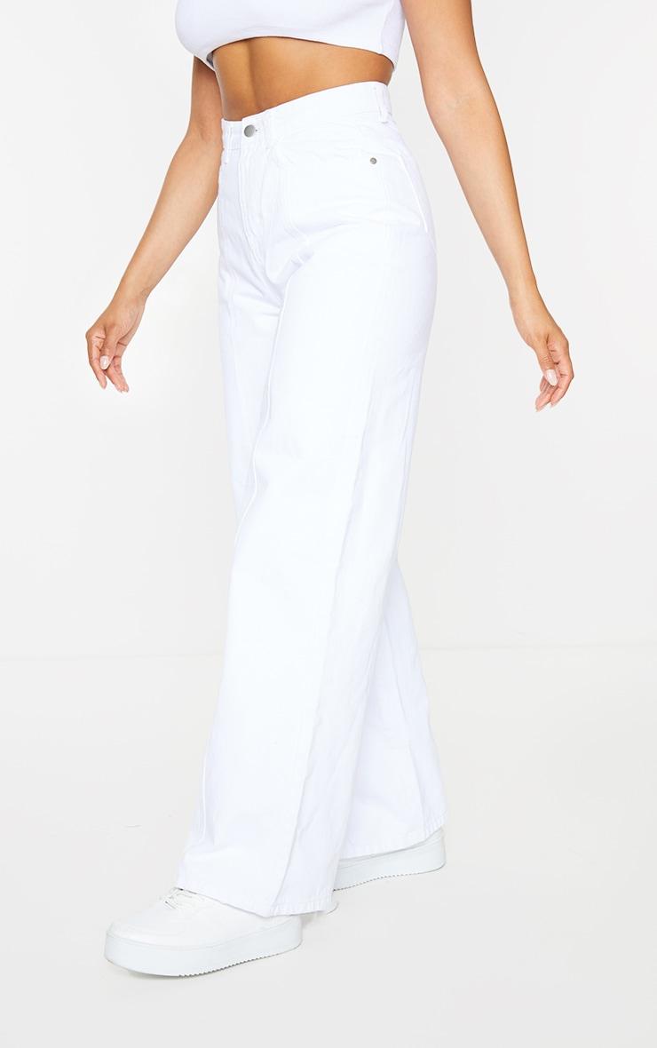 White Seam Front Wide Leg Jeans 2