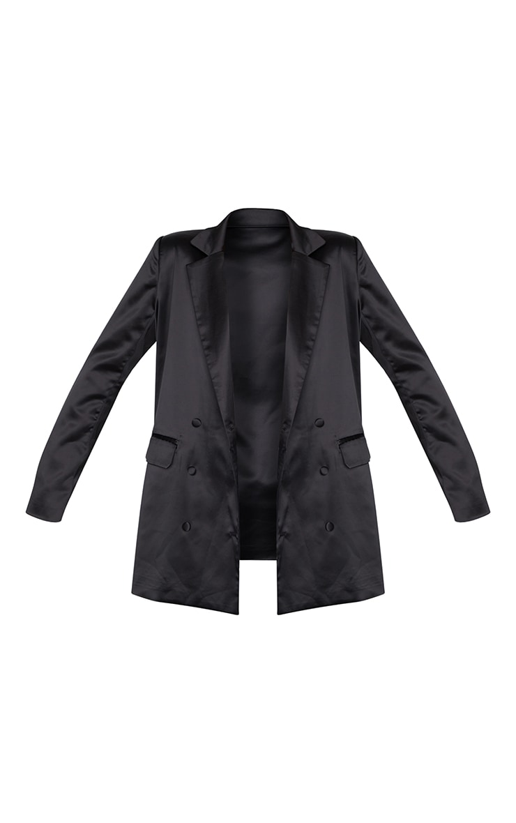 Black Satin Oversized Double Breasted Covered Button Blazer 5