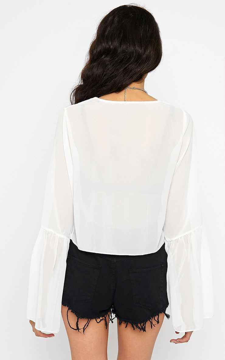 Evelin White Chiffon Drop Sleeve Top 2