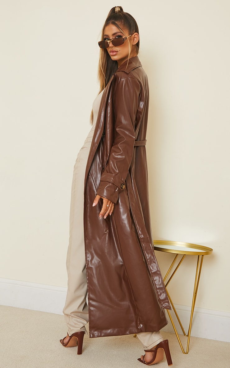 Chocolate Pu Double Breasted Maxi Trench 2
