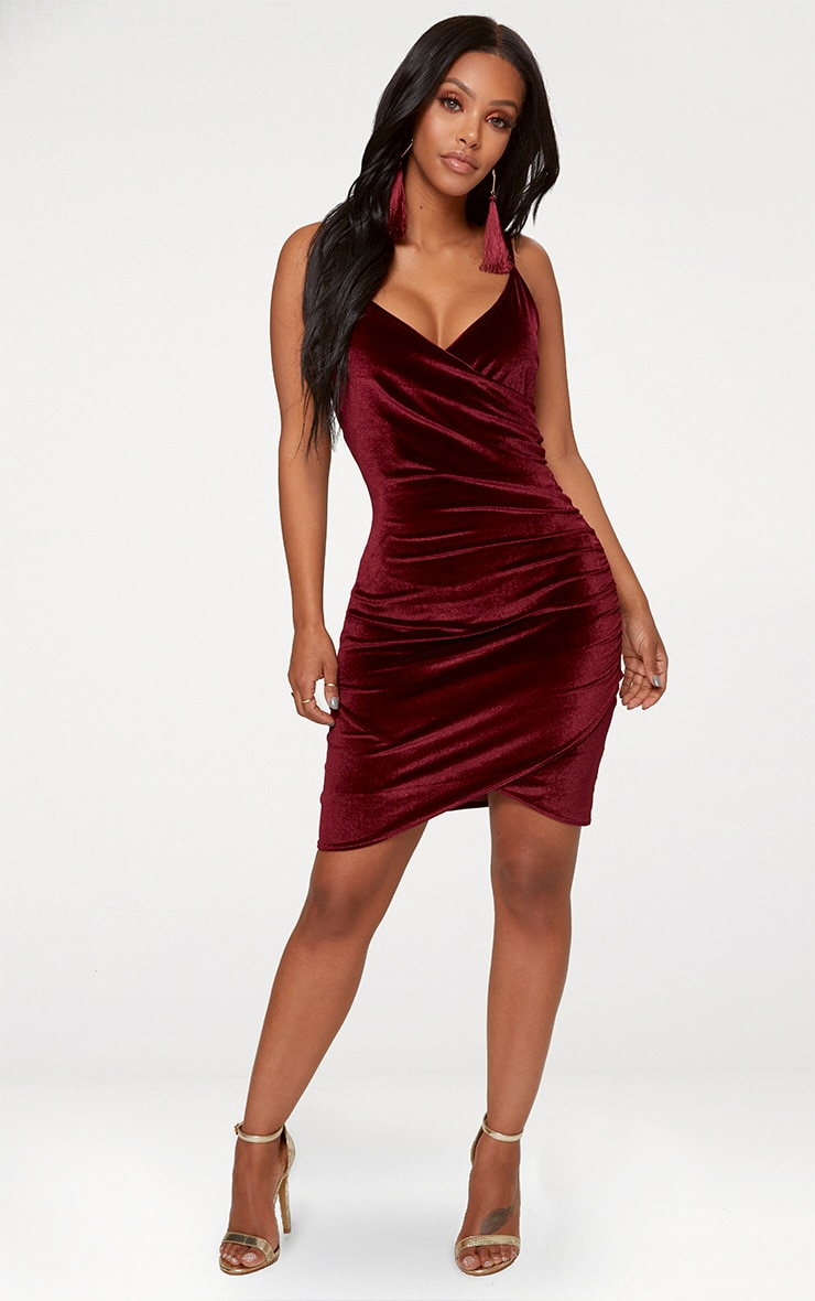Shape Burgundy Velvet Wrap Front Dress 3