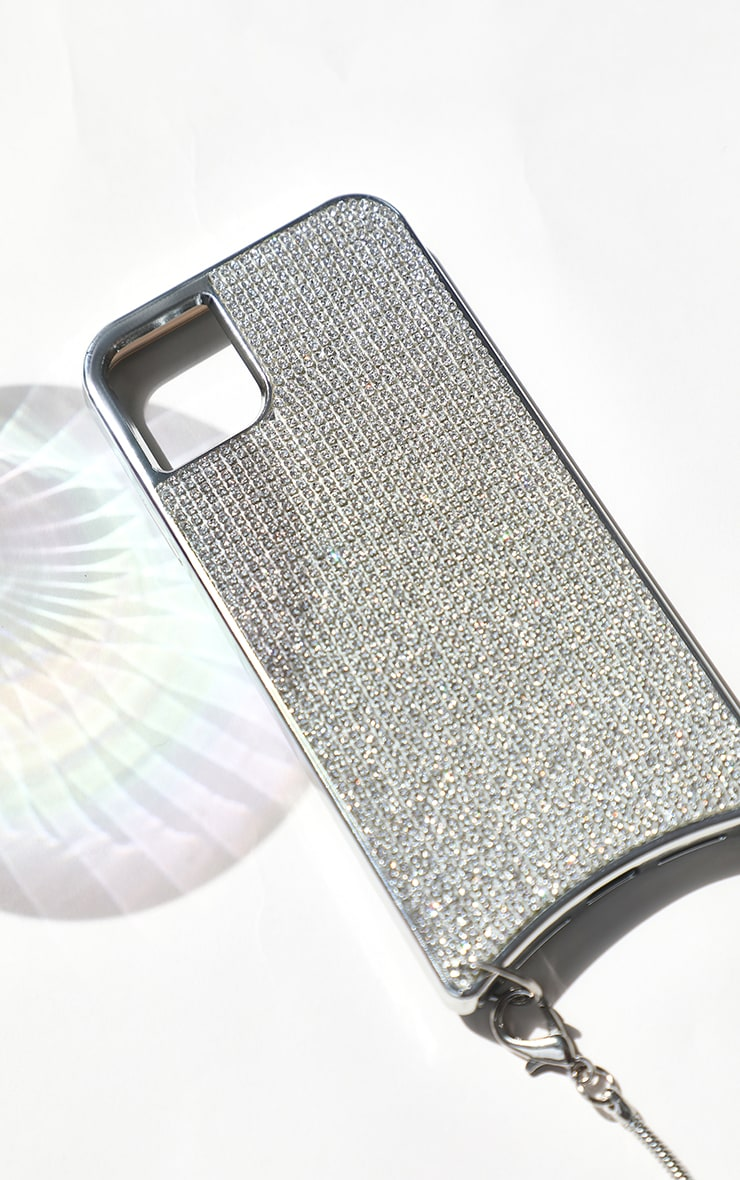 Diamante iPhone XR Case With Silver Chain 4
