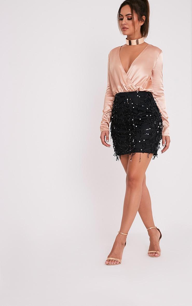 Black Sequin Detail Mini Skirt 6
