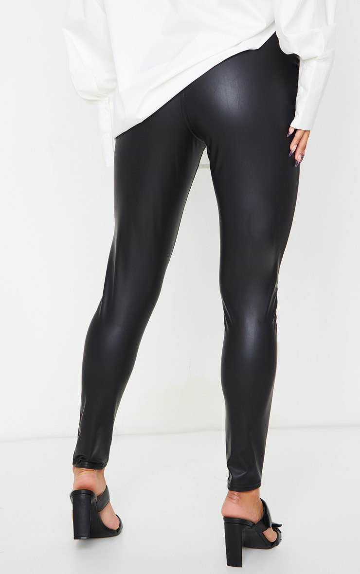 Black Button Up PU Skinny Trouser 3