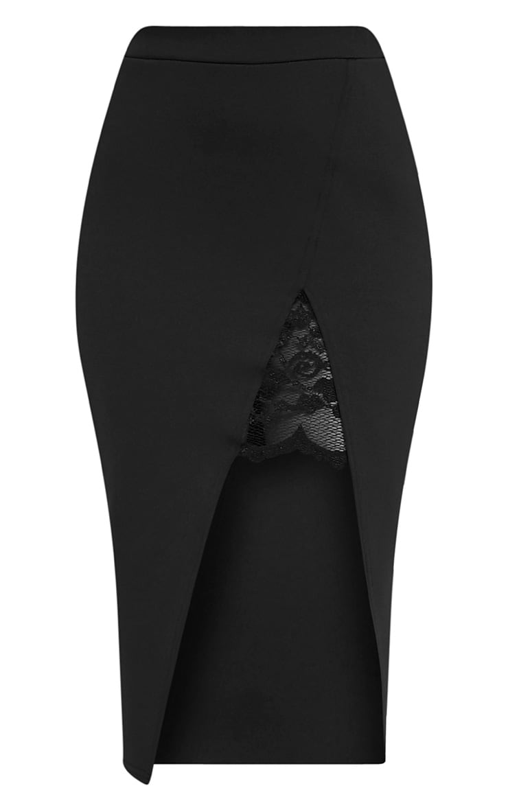 Zaria Black Lace Split Midi Skirt 3