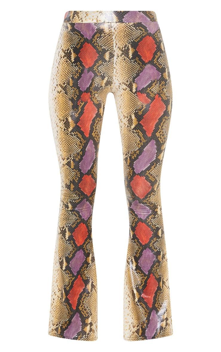 Multi Snake Print Coated Flare Leg Pants 3