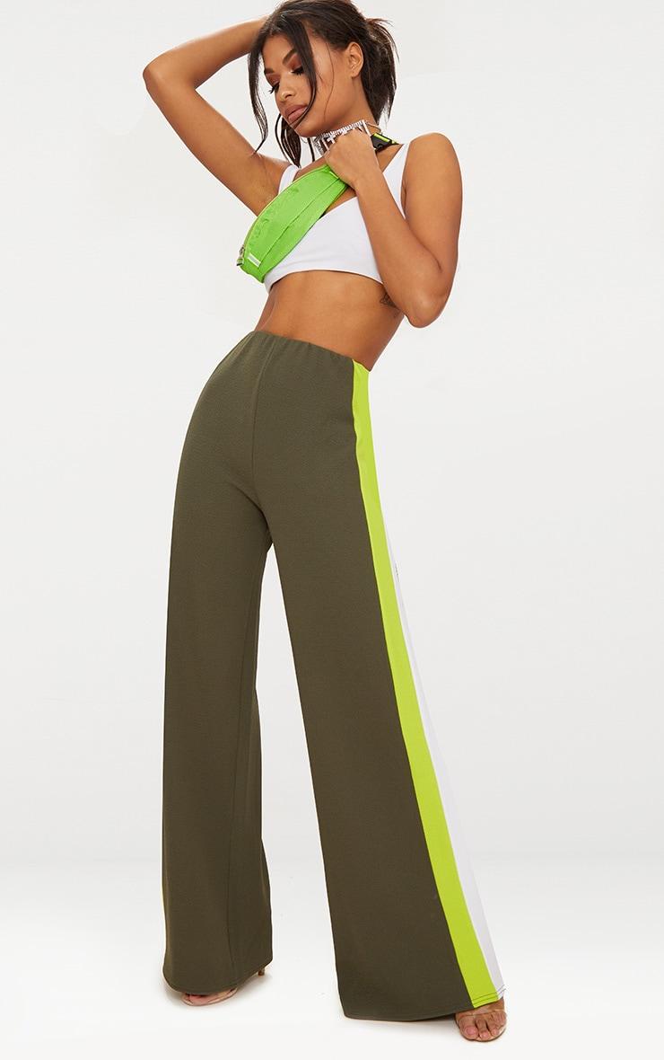 Khaki Contrast Stripe Wide Leg Trousers 1