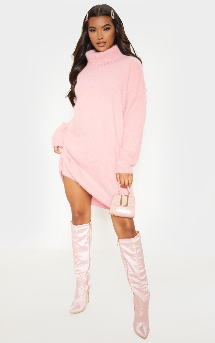 Rose Knitted High Neck Sweater Dress  4