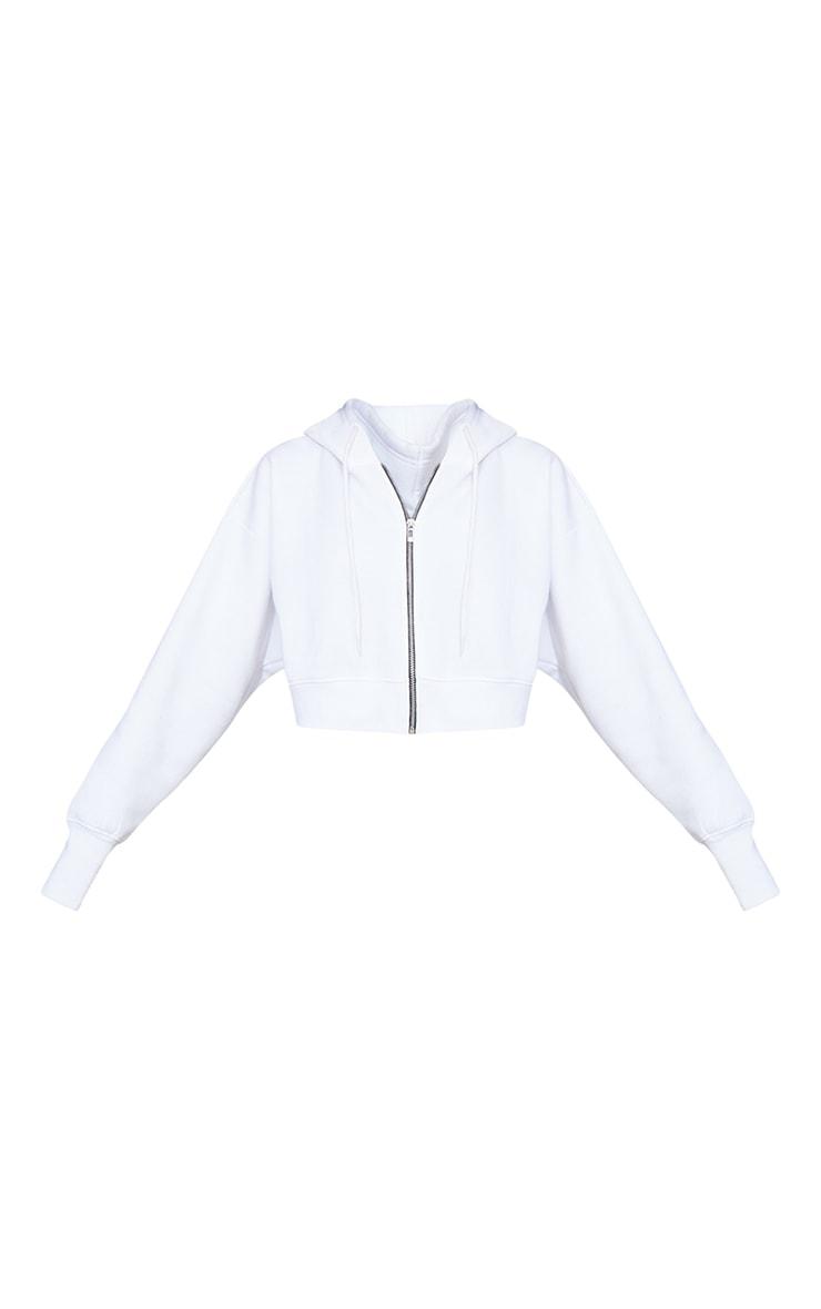 White Oversized Zip Through Rib Cuff Cropped Hoodie 5