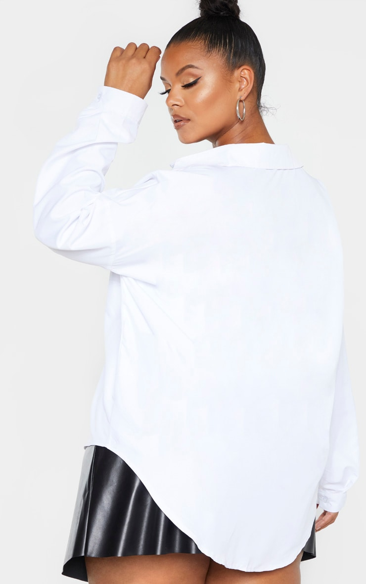 Plus White Poplin Embroided Oversized Shirt 3