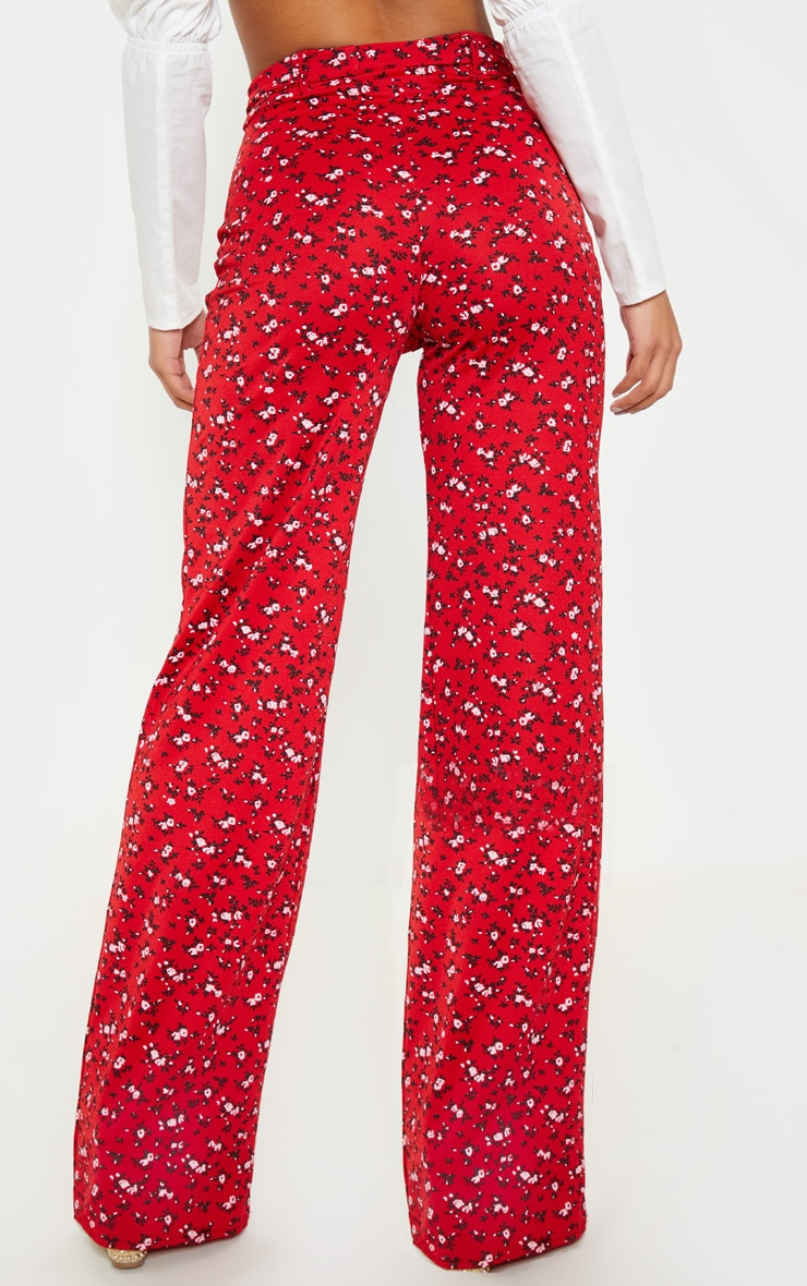 Red Ditsy Floral Tie Waist Wide Leg Pants 4