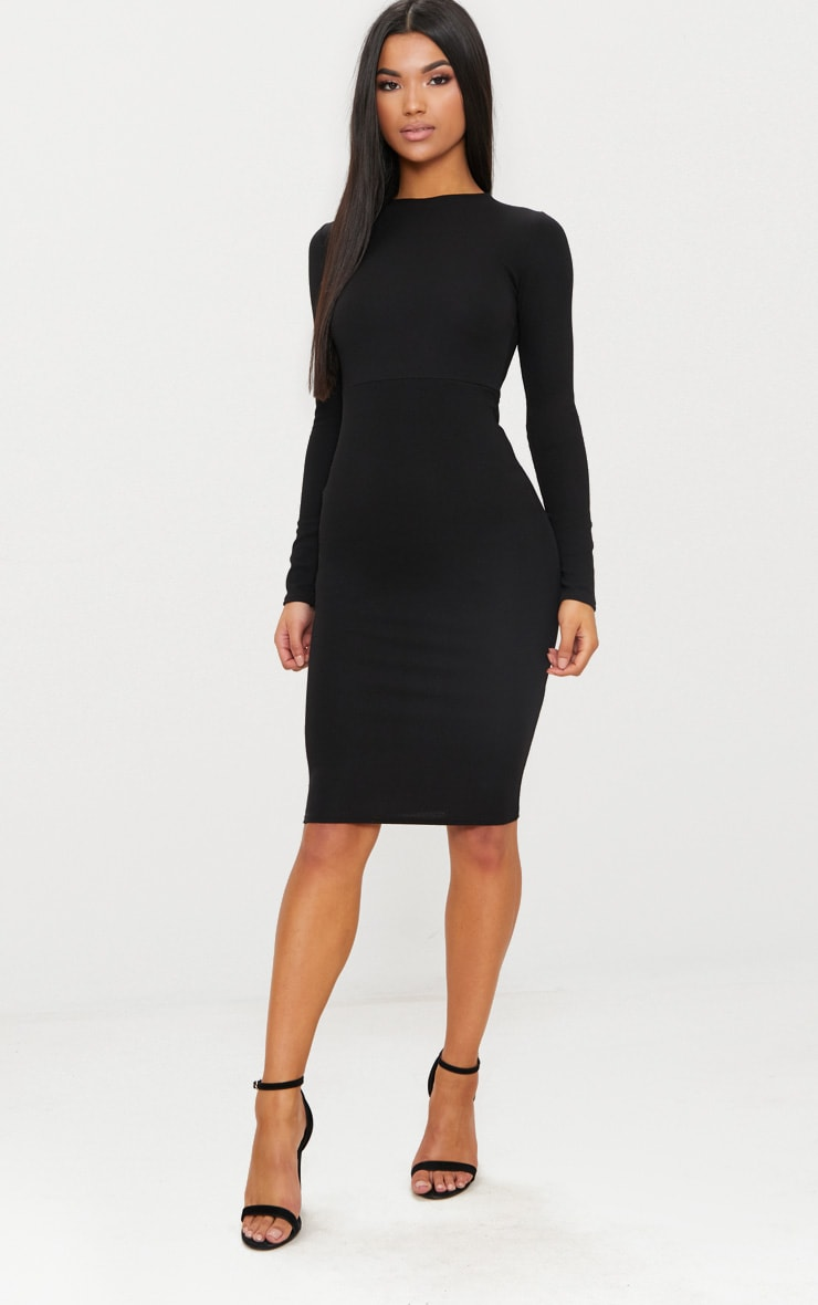 Black Lace Up Back Midi Dress 2