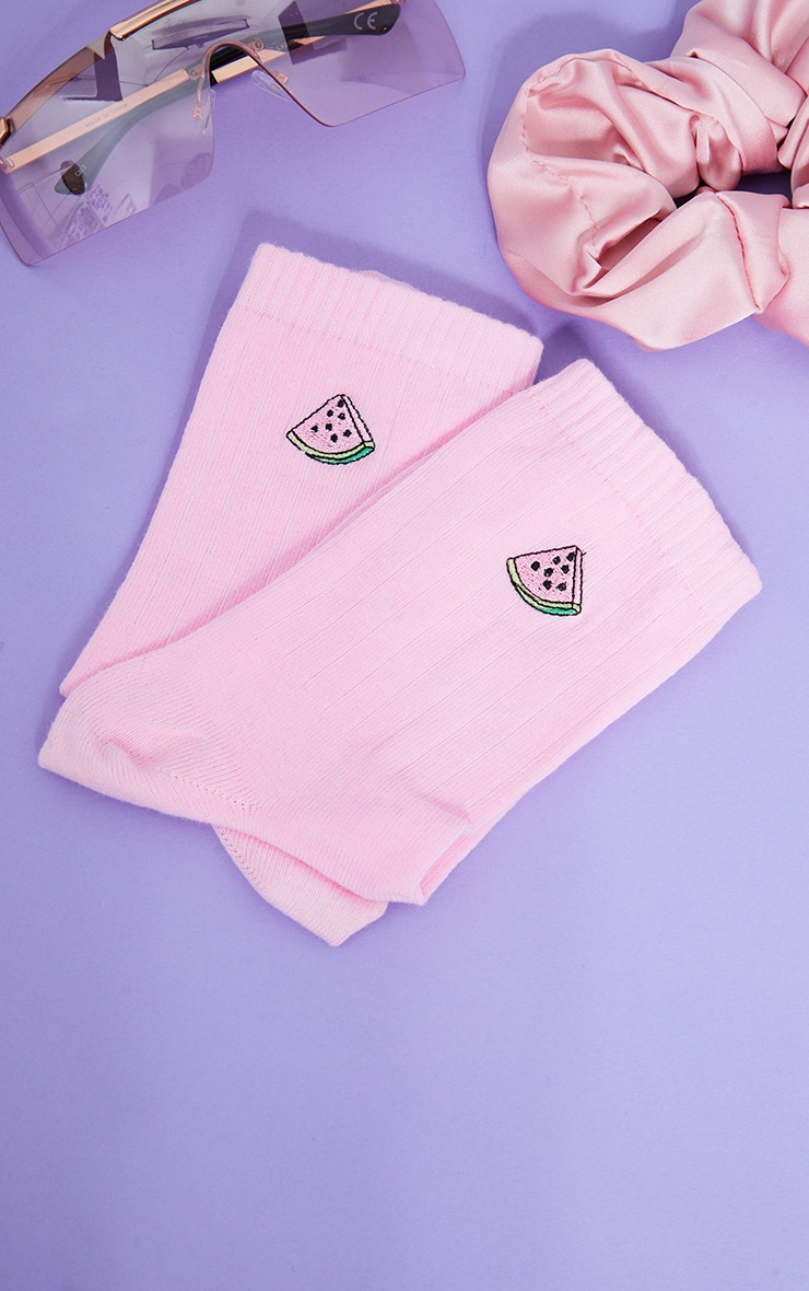 Pink Watermelon Embroidered Ankle Socks 3