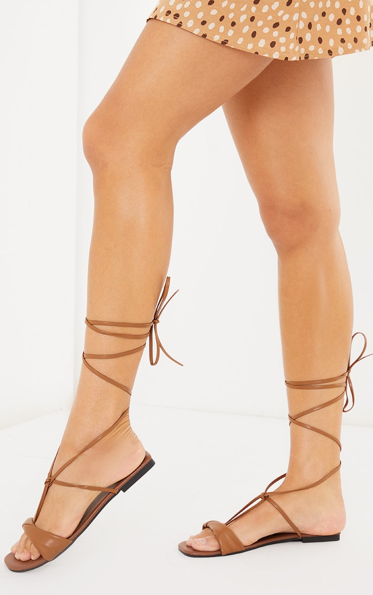 Tan PU Folded Square Toe Ankle Tie Sandals 2