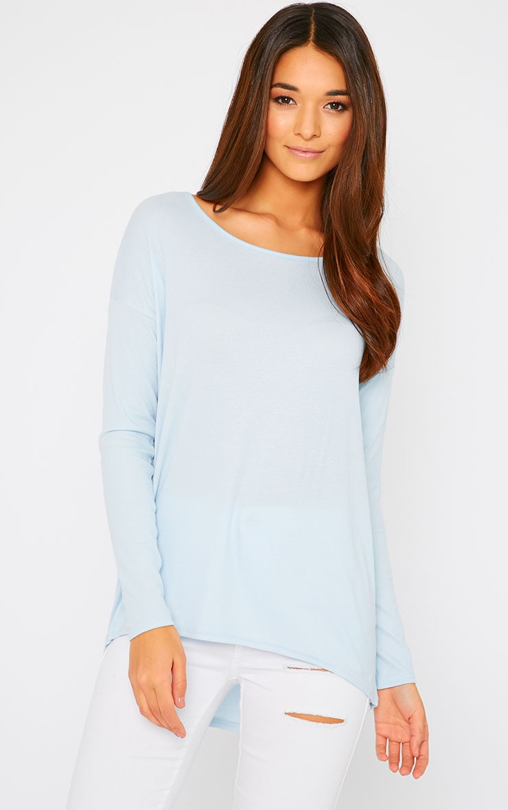Sienna Powder Blue Ribbed Dipped Hem Top  1