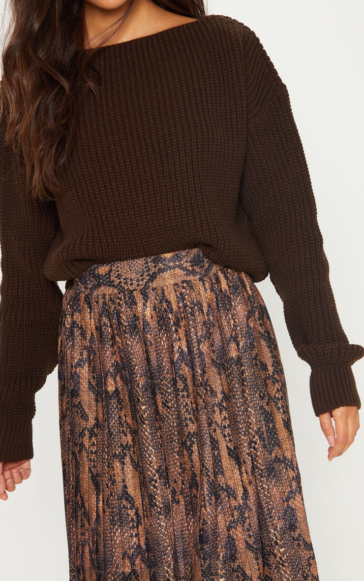 Brown Slash Neck Crop Knitted Jumper  5