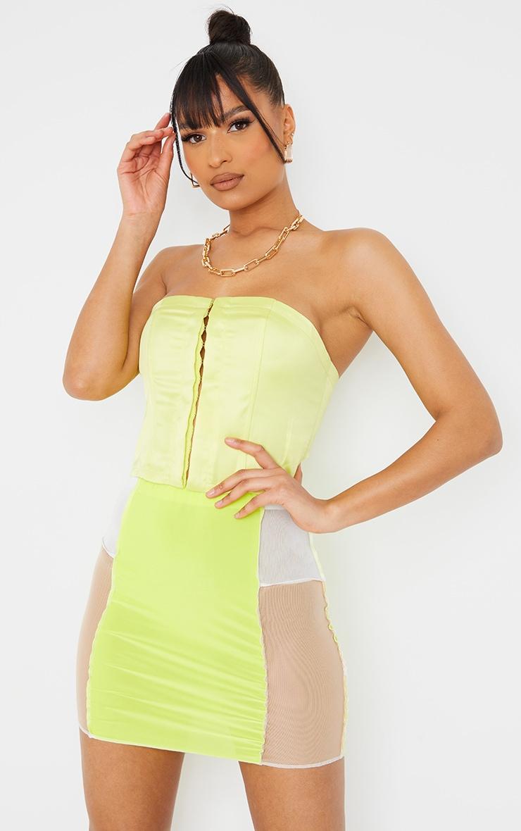 Lime Slinky Panelled Mini Skirt 4