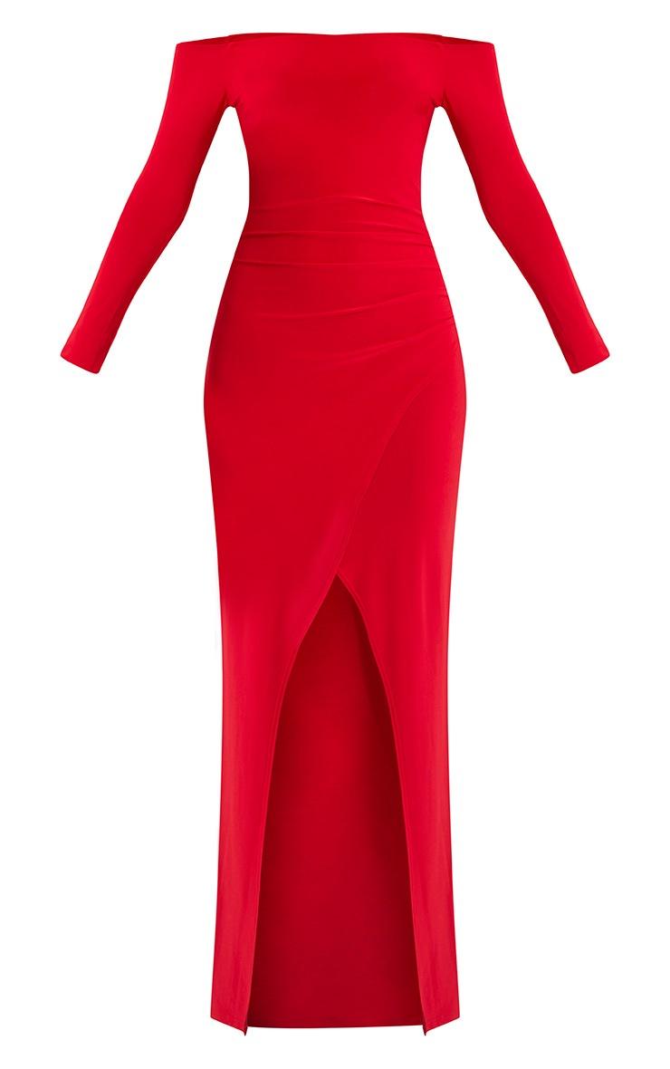 Sharlotte Red Slinky Wrap Bardot Maxi Dress 3