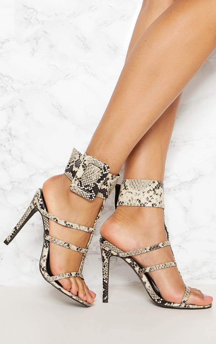 Black Snake Print Cuff Detail Strappy Heeled Sandal