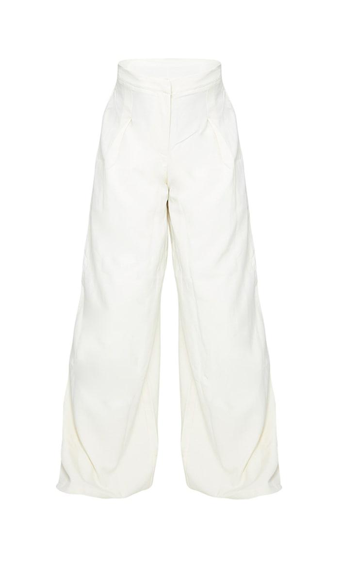 PLT Plus - Pantalon tissé crème à jambes évasées plissé 5