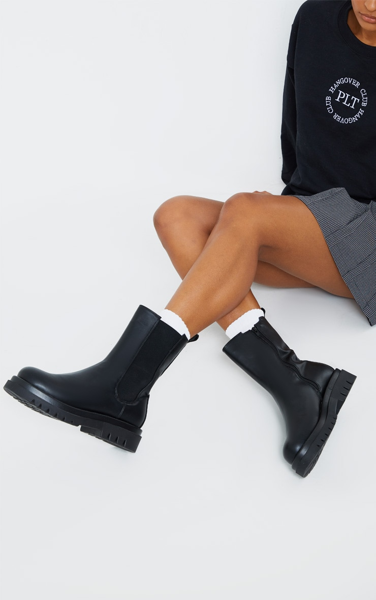 Black PU Calf High Vamp Chelsea Boots 2