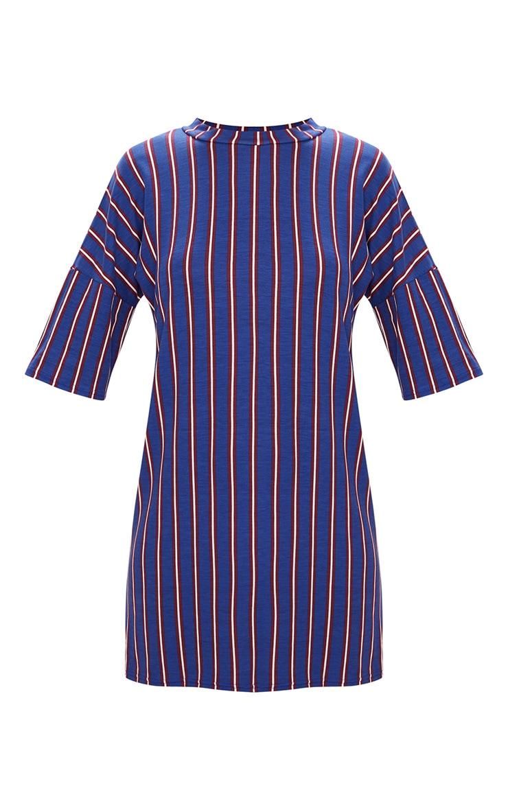 Blue Striped Oversized T Shirt Dress 3