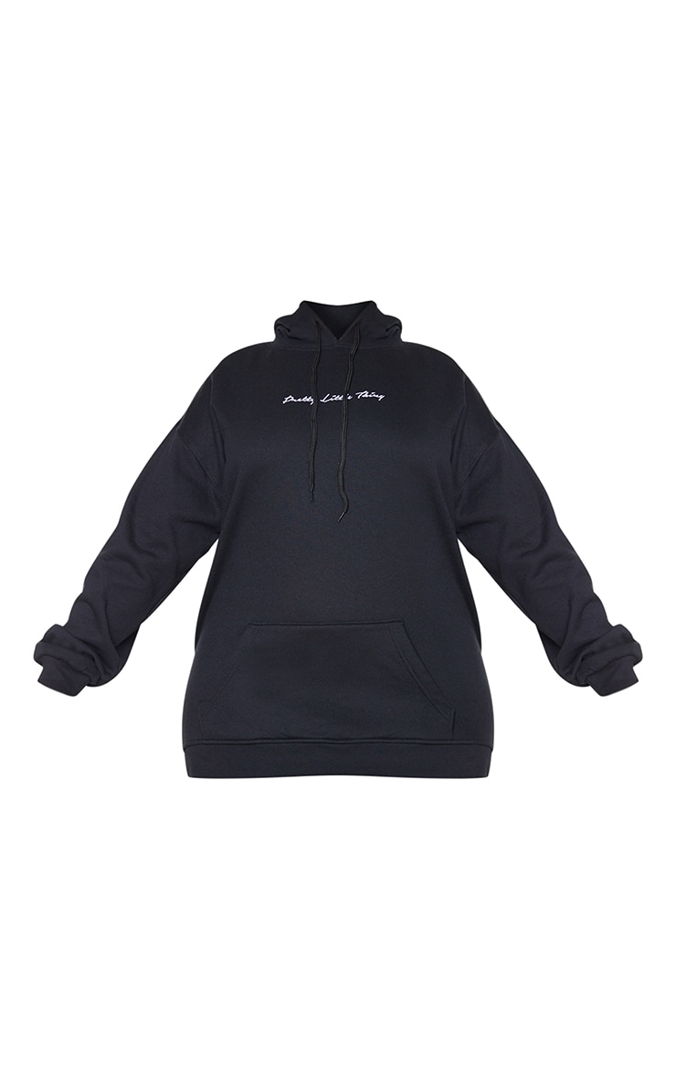 PRETTYLITTLETHING Plus Black Embroidered Oversized Hoodie 5