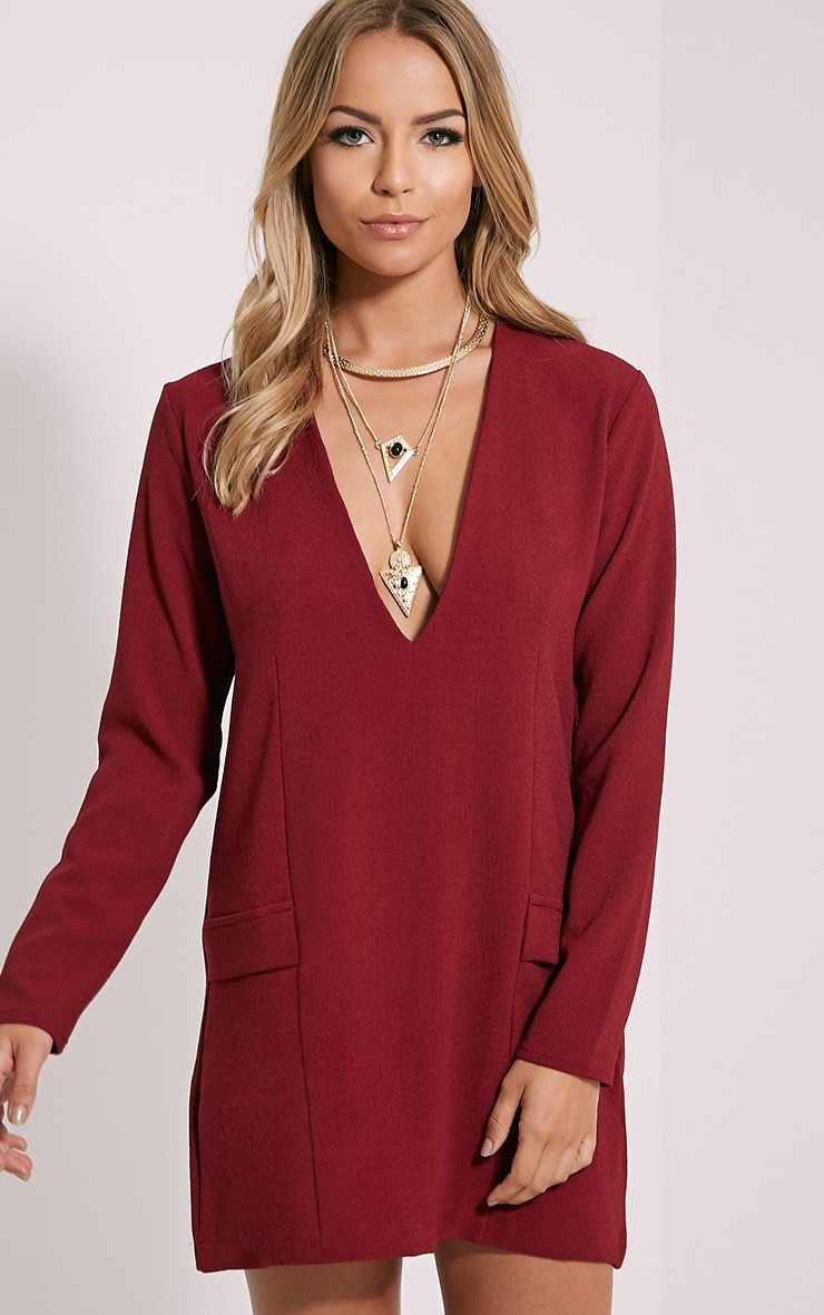 Jemima Burgundy Loose Fit Blazer Dress 1