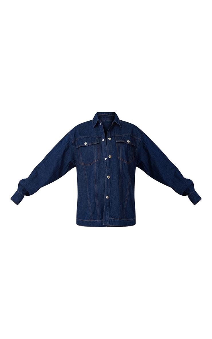 Dark Blue Wash Oversized Denim Jacket 5