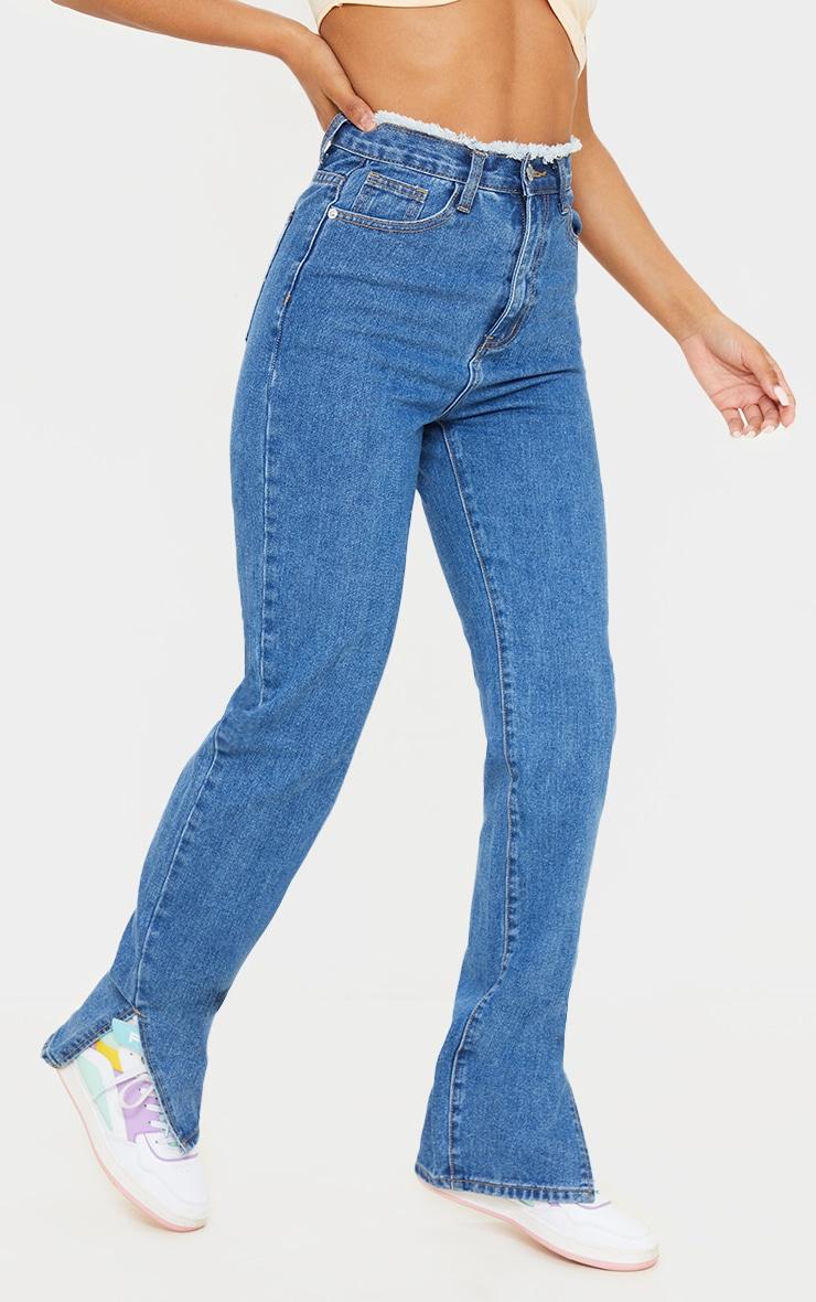 Mid Blue Wash Ripped Waistband Split Hem Jeans 2