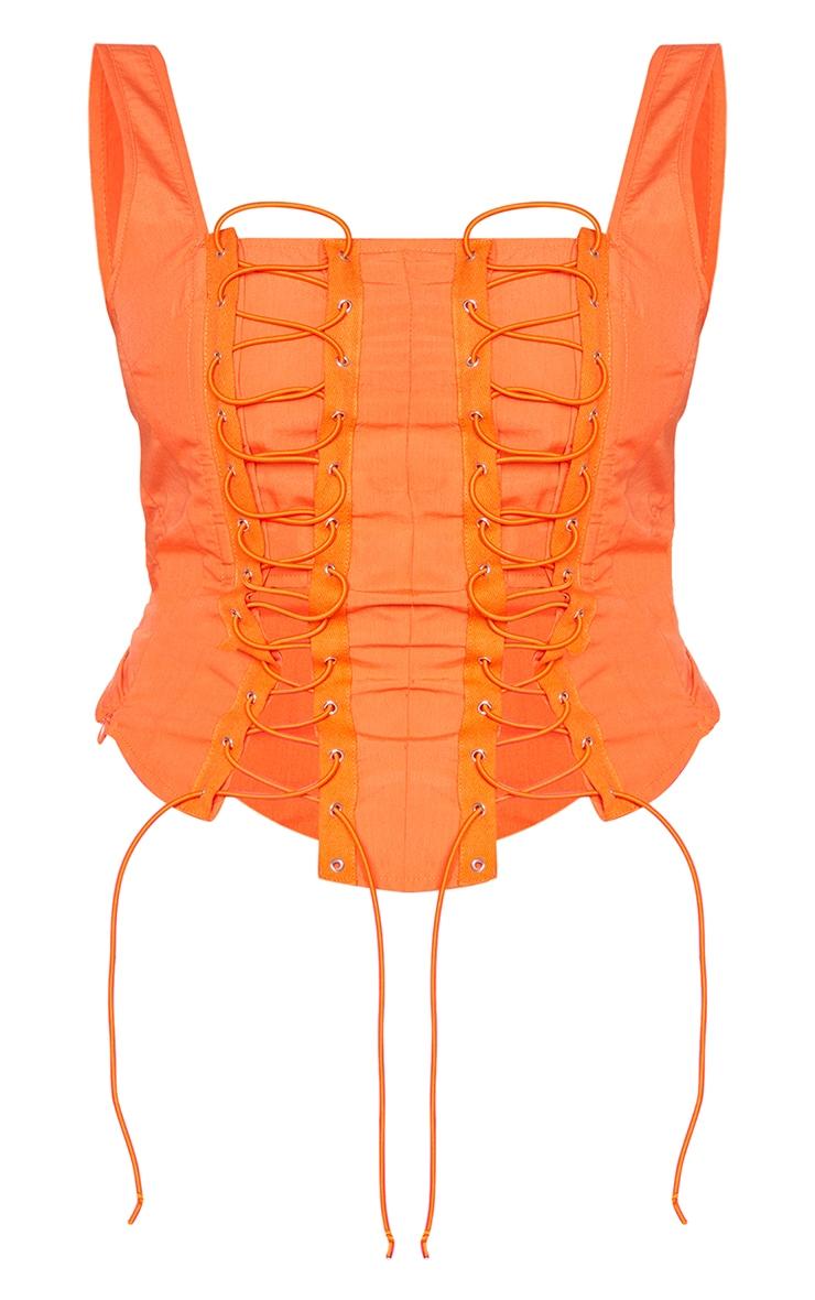 Top en maille orange très lacée et col carré 5